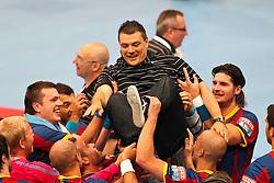 29.05.2011,  Lanxess Arena, Koeln, GER, EHF Final 4, FC Barcelona Borges (ESP) vs. Renovalia Ciudad Real (ESP), Finale, im Bild: Xavier Pascual (Barcelona) wird hochgehoben (M)  EXPA Pictures © 2011, PhotoCredit: EXPA/ nph/  Mueller       ****** out of GER / SWE / CRO  / BEL ****** / SPORTIDA PHOTO AGENCY