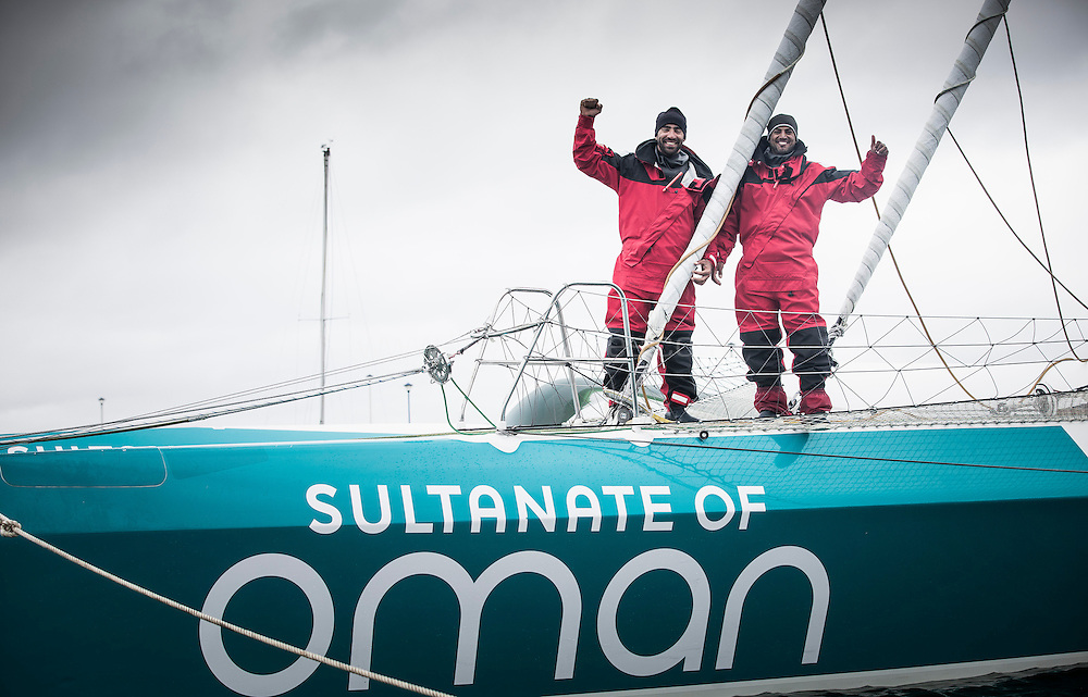 The Sultanate of Oman's MOD70 Musandam -Oman Sail trimaran skippered by Sidney Gavignet (FRA). Shown here as the team cross the line and set a new world record for sailing round Ireland in 40h51m57s (unofficial - official to follow)<br /> Credit - Lloyd Images