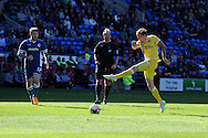 Martyn Woolford of Millwall scuffs a shot at goal. Skybet football league championship, Cardiff city v Millwall at the Cardiff city stadium in Cardiff, South Wales on Saturday 18th April 2015<br /> pic by Andrew Orchard, Andrew Orchard sports photography.