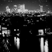 Photo of the Lake Union houseboat community at night, circa 1970s.<br /> <br /> Josef Scaylea / The Seattle Times