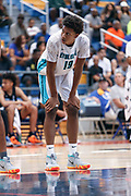 THOUSAND OAKS, CA Sunday, August 12, 2018 - Nike Basketball Academy. Jalen Johnson 2020 #19 of Nicolet HS rests. <br /> NOTE TO USER: Mandatory Copyright Notice: Photo by John Lopez / Nike