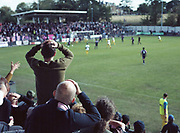 Dulwich Hamlet on the defence to Wealdstone on the 8th September 2018 at the KNK Stadium in South London in the United Kingdom. The KNK Stadium is Dulwich Hamlets temporary ground following eviction from their home ground, Champion Hill in March 2018.
