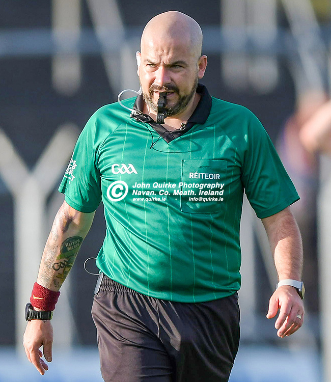 Referee - Keith Sheerin (Drumconrath),   in the Gaeil Colmcille v Wolfe Tones, 2020 Feis Cup Final match, at Páirc Tailteann, Navan.<br /> <br /> Photo: GERRY SHANAHAN-WWW.QUIRKE.IE<br /> <br /> 02-08-2021