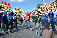 Rugby kids run through The Pack outside Wembley before k.o. Rugby World Cup 2015 pool C match, New Zealand v Argentina at Wembley Stadium in London on Sunday 20th September 2015.<br /> pic by John Patrick Fletcher, Andrew Orchard sports photography.