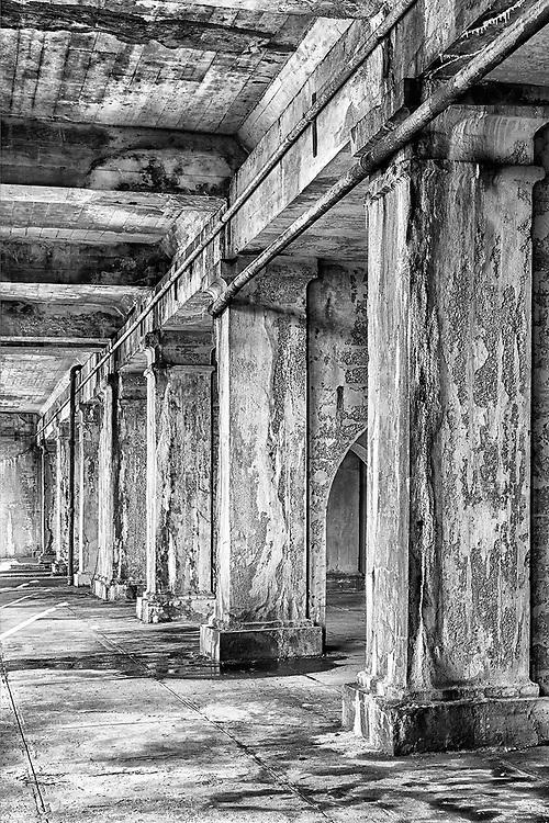 Beneath the Fredericksburg Train Station railroad bridge, the architectural arcade resembles ancient catacombs