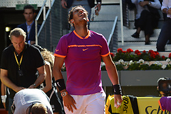 May 13, 2017 - Madrid, Spain - RAFAEL NADAL celebrates after winning his semifinal match v. N. Djokovic in the Mutua Madrid Open tennis tournament. (Credit Image: © Christopher Levy via ZUMA Wire)