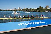 "Rio de Janeiro. BRAZIL     USA W8+. Gold Medalist Bow.  Emily REGAN, Kerry SIMMONDS, Amanda POLK,  Lauren SCHMETTERLING, Tessa GOBBO, Meghan<br /> MUSNICKI, Eleanor LOGAN,  Amanda ELMORE, and cox. Katelin SNYDER, at the, 2016 Olympic Rowing Regatta. Lagoa Stadium, Copacabana,  ""Olympic Summer Games""<br /> Rodrigo de Freitas Lagoon, Lagoa. Local Time 12:29:23  Saturday  13/08/2016<br /> [Mandatory Credit; Peter SPURRIER/Intersport Images]"