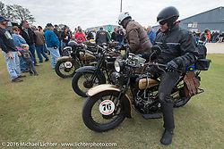 "Robert Gustavsson or ""Big Swede"" as he is fondly known, arrives with Dean Bordigioni at the lunch stop on his 1931 Harley-Davidson VL during stage 8 of the Motorcycle Cannonball Cross-Country Endurance Run, which on this day ran from Junction City, KS to Burlington, CO., USA. Saturday, September 13, 2014.  Photography ©2014 Michael Lichter."