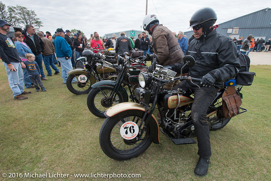 """Robert Gustavsson or """"Big Swede"""" as he is fondly known, arrives with Dean Bordigioni at the lunch stop on his 1931 Harley-Davidson VL during stage 8 of the Motorcycle Cannonball Cross-Country Endurance Run, which on this day ran from Junction City, KS to Burlington, CO., USA. Saturday, September 13, 2014.  Photography ©2014 Michael Lichter."""