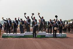 Team NED, IJsbrand Chardon, Koos De Ronde, Theo Timmerman, Team GER, Michael Brauchle, Christoph Sandmann, Georg Von Stein, Team HUN, Jozsef Dobrovitz Jr, Jozsef Dobrovitz, Zoltan Lazar - Driving Cones - Alltech FEI World Equestrian Games™ 2014 - Normandy, France.<br /> © Hippo Foto Team - Dirk Caremans<br /> 07/09/14
