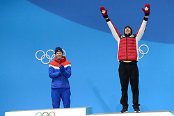 February 18, 2018 - Pyeongchang, South Korea - ALEX BEAULIEU-MARCHAND of Canada celebrates getting the bronze medal in the Men's Slopestyle freestyle skiing event in the PyeongChang Olympic Games. (Credit Image: © Christopher Levy via ZUMA Wire)