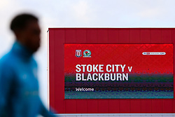 A Blackburn Rovers player warm up in front of a sign welcoming them to the match- Mandatory by-line: Nick Browning/JMP - 19/12/2020 - FOOTBALL - Bet365 Stadium - Stoke-on-Trent, England - Stoke City v Blackburn Rovers - Sky Bet Championship