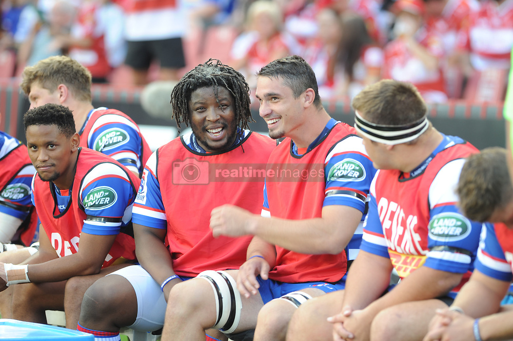 070418 Emirates Airlines Park, Ellis Park, Johannesburg, South Africa. Super Rugby. Lions vs Stormers. The Stormers bench. In conversation Scarra Ntubeni and Jaco Coetzee. <br />Picture: Karen Sandison/African News Agency (ANA)