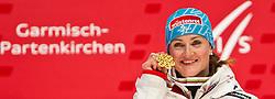 08.02.2011, Medalplaca, Garmisch Partenkirchen, GER, FIS Alpin Ski WM 2011, GAP, Lady Super G, Medal Ceremony, im Bild Elisabeth GOERGL (AUT, Weltmeisterin SuperG) // Elisabeth GOERGL (AUT, World Champion SuperG) during Women Super G, Fis Alpine Ski World Championships in Garmisch Partenkirchen, Germany on 8/2/2011. EXPA Pictures © 2011, PhotoCredit: EXPA/ J. Groder