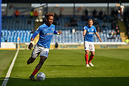 Portsmouth Midfielder, Jamal Lowe (10) keeps the ball in play during the EFL Sky Bet League 1 match between Portsmouth and Rochdale at Fratton Park, Portsmouth, England on 13 April 2019.