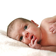 A studio portrait of a three week old baby girl. Photo Tim Clayton
