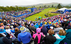 Solheim Cup 2019 at Centenary Course at Gleneagles in Scotland, UK. View from stand of the 1st tee on Sunday Morning.