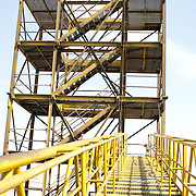 Steel ladder leading towards a structure