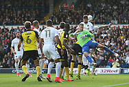Leeds United goalkeeper Felix Wiedwald (13) is fouled during the EFL Sky Bet Championship match between Leeds United and Burton Albion at Elland Road, Leeds, England on 9 September 2017. Photo by John Potts.