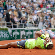 PARIS, FRANCE June 09.  Timea Babos of Hungary and Kristina Mladenovic of France celebrate winning the Women's Doubles Final against Saisai Zheng and Yingying Duan of China on Court Philippe-Chatrier at the 2019 French Open Tennis Tournament at Roland Garros on June 9th 2019 in Paris, France. (Photo by Tim Clayton/Corbis via Getty Images)