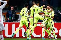 AMSTERDAM, 05-11-2014 Stadion Arena , seizoen 2014 - 2015 Champions League voetbal, Ajax - FC Barcelona . Lionel Messi (r) scoort en viert de 0-1 met oa. Marc Bartra , Sergio Busquets , Neymar en Ivan Rakitic .