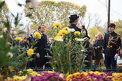 French President Emmanuel Macron stands to attention after laying a wreath in front of the statue of Georges Clemenceau in Paris on November 11, 2017 during the Armistice Day commemorations marking the end of WWI. Photo by<br /> ELIOT BLONDET/ABACAPRESS.COM