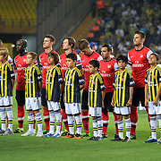 Arsenal's players during the UEFA Champions League Play-Offs First leg soccer match Fenerbahce between Arsenal at Sukru Saracaoglu stadium in Istanbul Turkey on Wednesday 21 August 2013. Photo by Aykut AKICI/TURKPIX