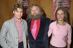 Left to right, MR CHARLES CONNOLLY, his father writer MR JOSEPH CONNOLLY and MISS VICTORIA CONNOLLY, at a reception in London on 21st August 2000.OGS 3