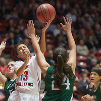 Shiprock Chieftain Paige Dale (13) makes a two-point shot against Hope Christian at the State 4a championship game in Albuquerque Friday.