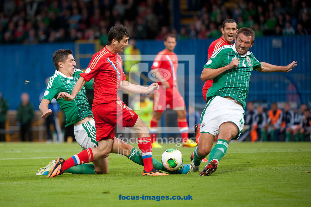 Picture by Ramsey Cardy/Focus Images Ltd +44 7809 235323<br /> 14/08/2013<br /> Craig Cathcart (L) & Gareth McAuley (R) of Northern Ireland and Alan Dzagoev of Russia during the 2014 FIFA World Cup Qualifying match at Windsor Park, Belfast.