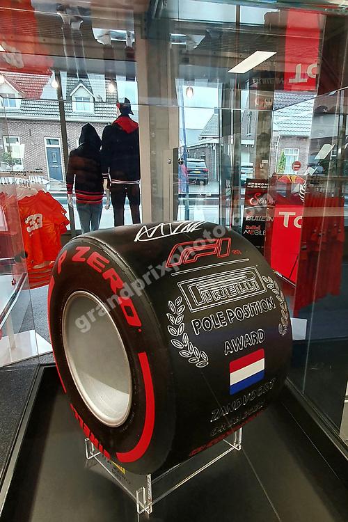 Zandvoort Pirelli Pole Position Award tyre inside the Max Verstappen Store (Red Bull-Honda) in Swalmen near Roermond before the 2021 Turkish Grand Prix at Istanbul Park. Photo: Grand Prix Photo/ Michael Stirnberg