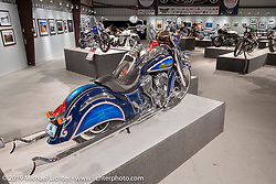 Brian Klock's Klock Werks Vicla style custom Indian Chieftan in the More Mettle - Motorcycles and Art That Never Quit exhibition in the Buffalo Chip Events Center Gallery during the Sturgis Motorcycle Rally. SD, USA. Wednesday, August 11, 2021. Photography ©2021 Michael Lichter.