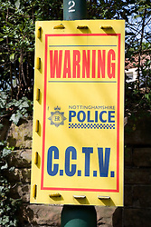Police sign warning sign that CCTV in the area,
