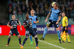 April 28, 2018 - Sydney, NSW, U.S. - SYDNEY, NSW - APRIL 28: Sydney FC defender Luke Wilkshire (26) heads to ball down the line at the A-League Soccer Semi Final Match between Sydney FC and Melbourne Victory on April 28, 2018 at Allianz Stadium in Sydney, Australia. (Photo by Speed Media/Icon Sportswire) (Credit Image: © Speed Media/Icon SMI via ZUMA Press)