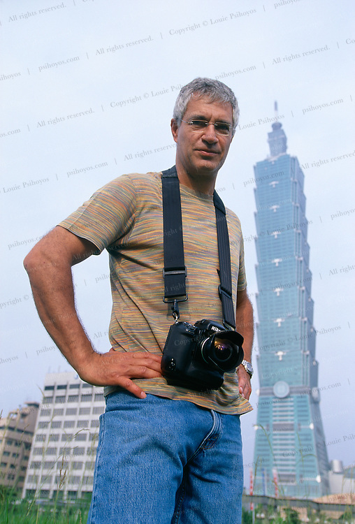 Photographer and author Louie Psihoyos on assignment shooting the world's new tallest building, Taipei 101.