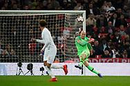 Brad Guzan of USA kicks the ball out during the International Friendly match between England and USA at Wembley Stadium, London, England on 15 November 2018.