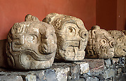 Carved stone jaguar heads were found at Chavin de Huantar, which was built around 900 BC as the religious and political center of the Chavín people. The advanced culture of Chavin lasted from 900-200 BC in the Andes Mountains, Peru, South America. The Chavín were located in the Mosna Valley where the Mosna and Huachecsa rivers merge. This area is 3150 meters above sea level and encompasses the quechua, jalca, and puna life zones. UNESCO honored Chavin Archaeological Site on the World Heritage List in 1985.