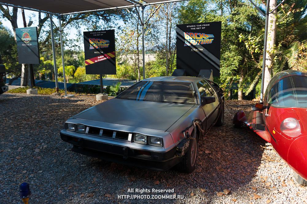 Back To The Future De Lorian In Universal Studios Theme Park, Los Angeles, California