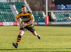 Newports' Nicky Boyce charges towards the try line.<br /> <br /> Photographer Simon Latham/Replay Images<br /> <br /> Principality Premiership - Newport v Ebbw Vale - Sunday 4th February 2018 - Rodney Parade - Newport<br /> <br /> World Copyright © Replay Images . All rights reserved. info@replayimages.co.uk - http://replayimages.co.uk