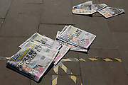 Discarded Metro newspapers on the floor baring the headline Paddle Be Likely, a reference to the foreign secretary, Dominic Raab, remaining on holiday as chaos ensued in Afghanistan on 26th August, 2021 in Manchester, United Kingdom. The British foreign secretary has been under heavy scrutiny after it was revealed he was holidaying at a five star resort on Crete, Greece as the Taliban retook Kabul, Afghanistan.