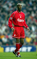 Fotball: Liverpool Nicolas Anelka in action against Birmingham City during the FA Cup 3rd Round match at Anfield. Liverpool won 3-0. Saturday 5th January 2002.<br /><br />Foto: David Rawcliffe, Digitalsport