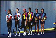 Sydney. AUSTRALIA. 2000 Summer Olympic Regatta, Penrith. NSW.  <br /> <br /> ROM LWX Gold medalist ALUPEI -TAMAS, Angela and BURCICA, Constanta.<br /> <br /> GER LW2C Silver medalist; BLASBERG, Claudia and VIEHOFF, Valerie.<br /> <br /> USA LW2X silver medalist GARNER, Sarah<br /> and SMITH -COLLINS, Christine.<br /> <br /> [Mandatory Credit Peter SPURRIER/ Intersport Images] Sydney International Regatta Centre (SIRC) 2000 Olympic Rowing Regatta00085138.tif