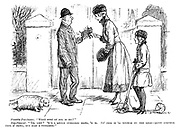 """Possible purchaser. """"What sort of dog is he?"""" Dog-fancier. """"'Im, Lidy? 'E's a little pedigree dawg, 'e is. An' this is 'is mother on the lead - quite another type o' dawg, but also a pedigree."""""""
