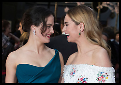 April 9, 2018 - London, London, United Kingdom - Image licensed to i-Images Picture Agency. 09/04/2018. London, United Kingdom. Jessica Brown Findlay and Lily James arriving at The Guernsey Literary and Potato Peel Pie Society premiere in London. (Credit Image: © Stephen Lock/i-Images via ZUMA Press)
