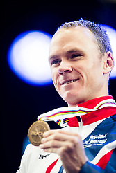 September 20, 2017 - Bergen, NORWAY - 170920 Christopher Froome of Great Britain poses with his bronze medal during the award ceremony after the Men Elite Individual Time Trial on September 20, 2017 in Bergen..Photo: Jon Olav Nesvold / BILDBYRN / kod JE / 160023 (Credit Image: © Jon Olav Nesvold/Bildbyran via ZUMA Wire)