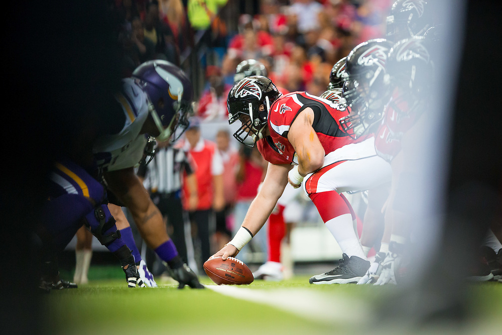 Atlanta Falcons center Mike Person during the game between the Minnesota Vikings and the Atlanta Falcons on Sunday, Nov. 29, 2015 at the Georgia Dome. The Falcons lost 20-10, going to 6-5 on the season. Photo by Kevin D. Liles
