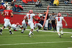 13 October 2012: Jonathan Miller makes the sideline and heads up field during an NCAA football game between the Youngstown State Penguins and the Illinois State Redbirds.  The Redbirds won the game by a score of 35-28 at Hancock Stadium in Normal Illinois