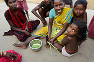 Family in Tongal village, Pulicat Lake, Tamil Nadu, India