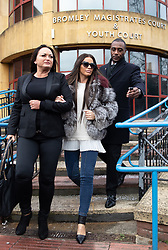 © Licensed to London News Pictures. 07/01/2019. London, UK. Former glamour model Katie Price (centre) leaves Bromley Magistrates Court after pleading not guilty to drink driving. Her pink Range Rover was found crashed in a bush on 10 October 2018. Photo credit : Tom Nicholson/LNP