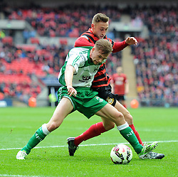North Ferriby's Sam Topliss grapples with Wrexham's Louis Moult - Photo mandatory by-line: Paul Knight/JMP - Mobile: 07966 386802 - 29/03/2015 - SPORT - Football - London - Wembley Stadium - North Ferriby United v Wrexham - FA Trophy